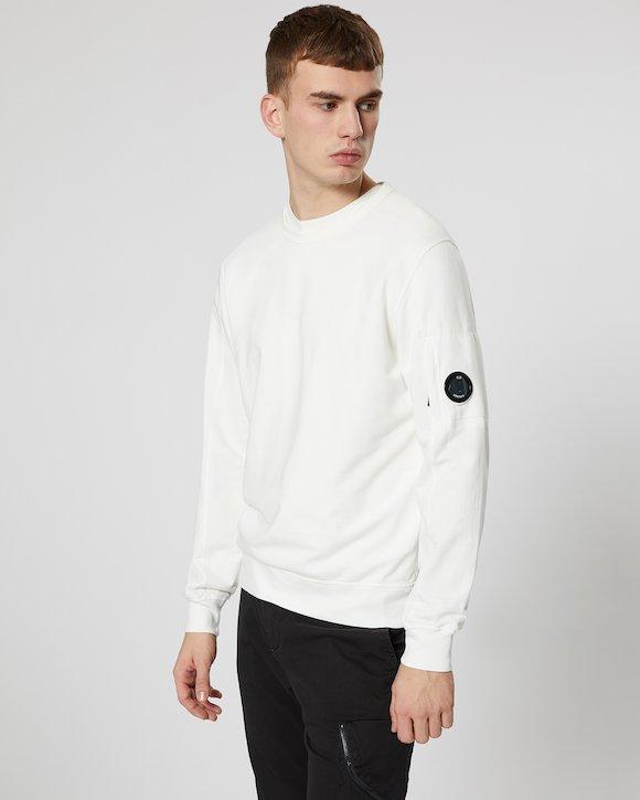 Garment Dyed Light Fleece Lens Crew Sweatshirt in Gauze White
