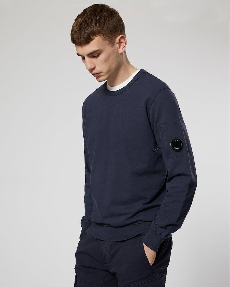 Garment Dyed Light Fleece Lens Crew Sweatshirt in Total Eclipse