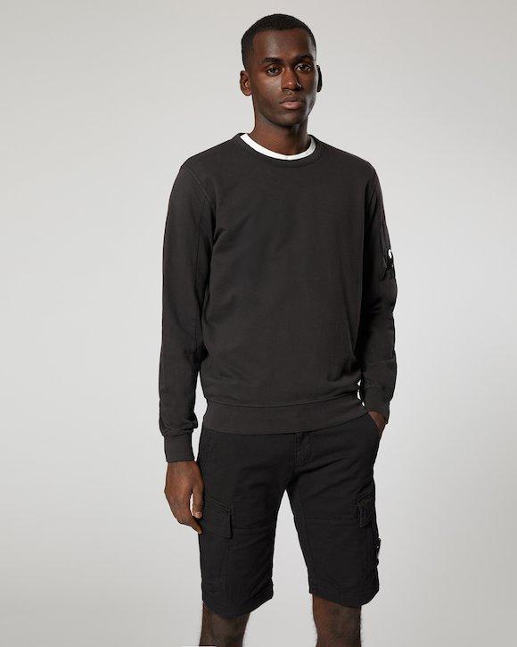 Garment Dyed Light Fleece Lens Crew Sweatshirt in Black