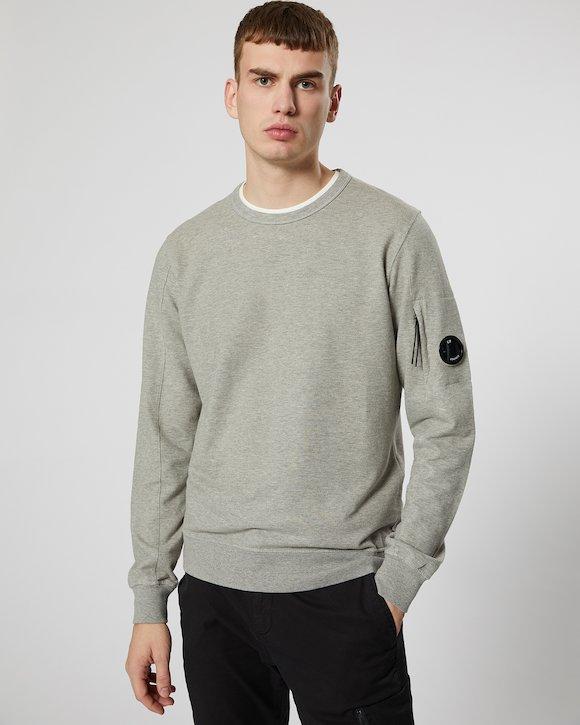 Garment Dyed Light Fleece Lens Crew Sweatshirt in Grey Melange