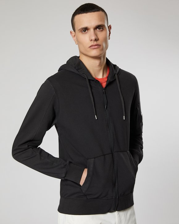 Garment Dyed Light Fleece Lens Zip Hoodie in Black