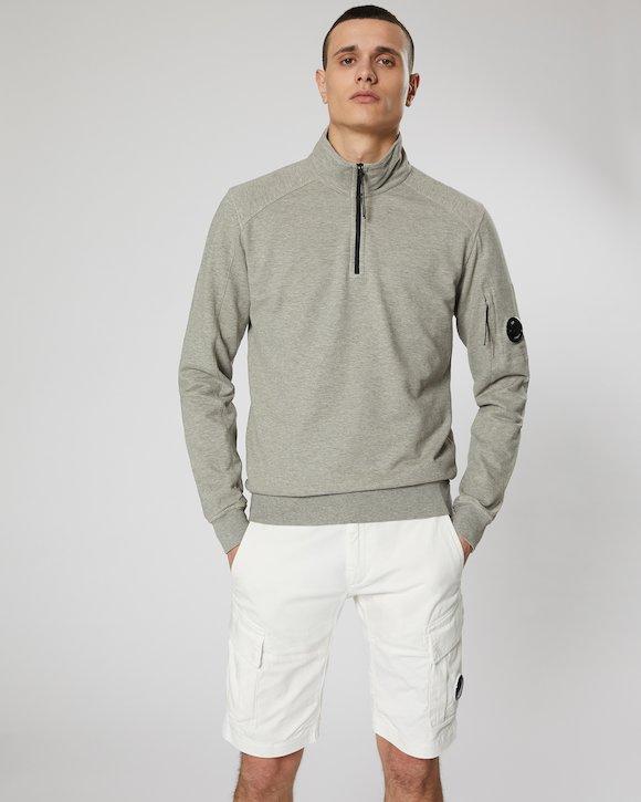 Garment Dyed Light Fleece Lens Zip Neck Sweatshirt in Grey Melange