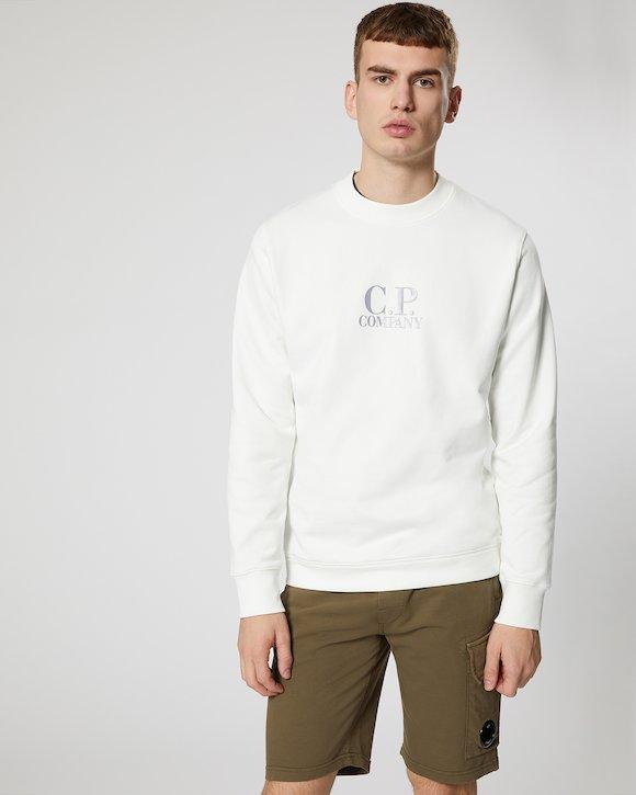 Diagonal Fleece Crew Sweatshirt in White