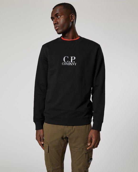 Diagonal Fleece Crew Sweatshirt in Black