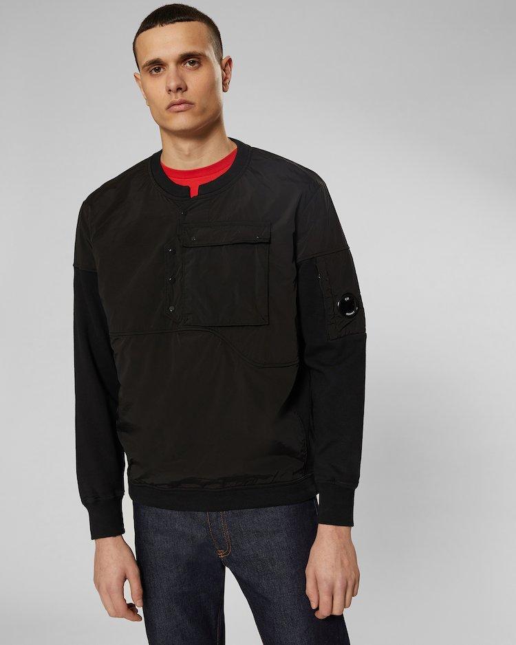 Cotton Fleece Crew Sweatshirt in Black