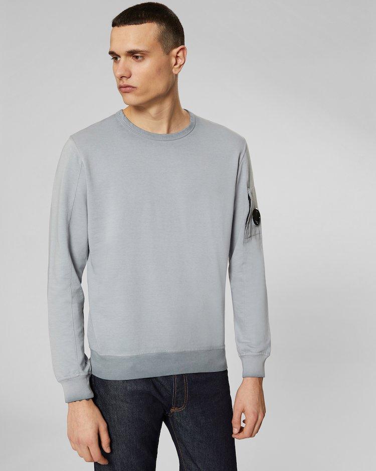 Re-Colour Light Fleece Lens Crew Sweatshirt in Black