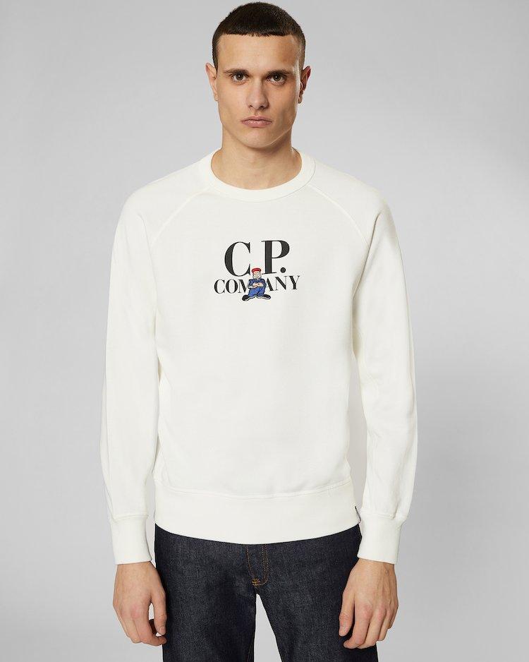 Fleece 30/1 Crew Sweatshirt in Gauze White