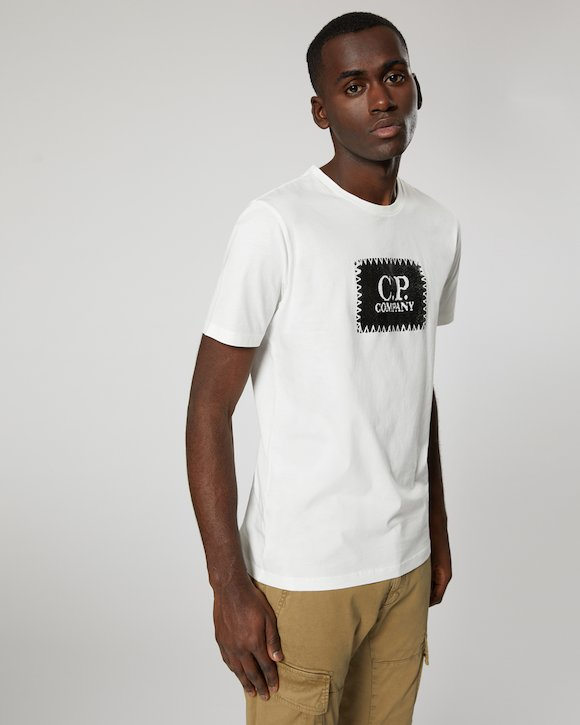 Jersey 30/1 Label Print Crew T-Shirt in White