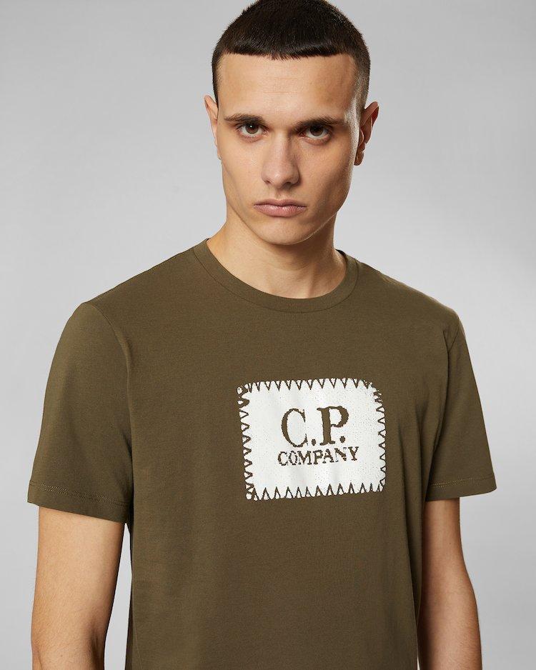 Jersey 30/1 Label Print Crew T-Shirt in Beech
