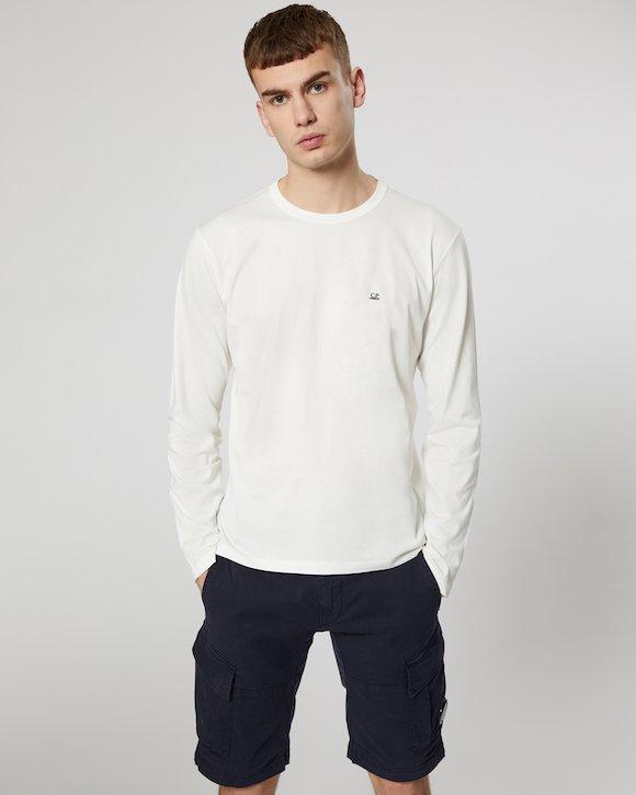 Garment Dyed Makò Jersey Long Sleeve Crew T-Shirt in Beech