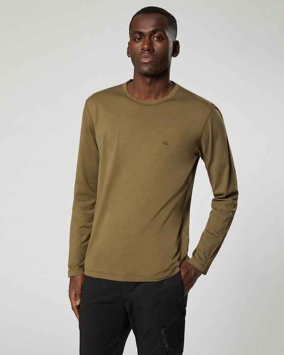 Garment Dyed Makò Jersey Long Sleeve Crew T-Shirt in Total Eclipse