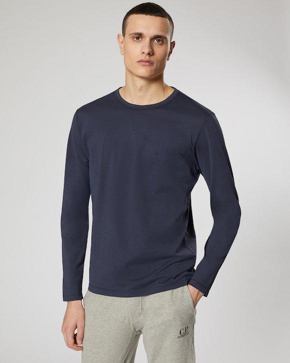 Garment Dyed Makò Jersey Long Sleeve Crew T-Shirt in Black