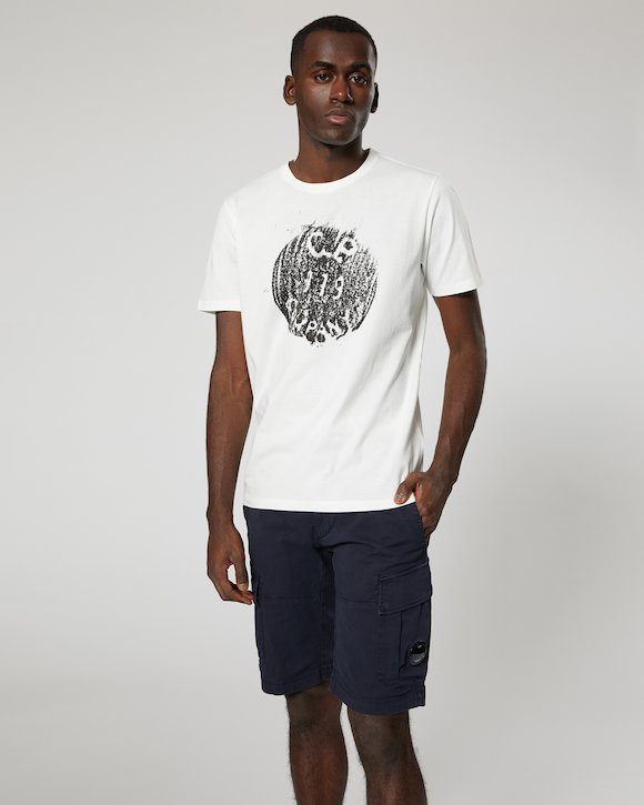 Jersey 30/1 Button Print Crew T-Shirt in Total Eclipse