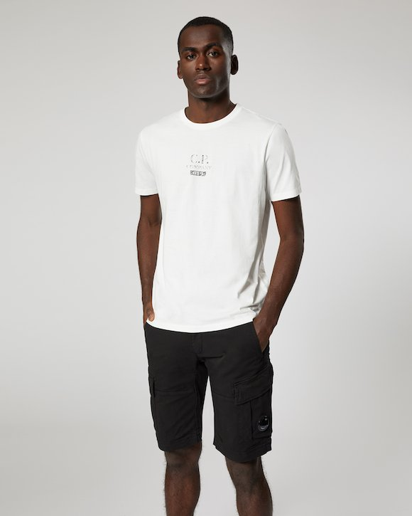 Jersey 30/1 Button Print Crew T-Shirt in White