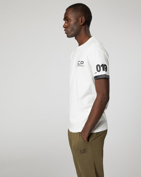 Jersey 30/1 Logo Print Crew T-Shirt in White