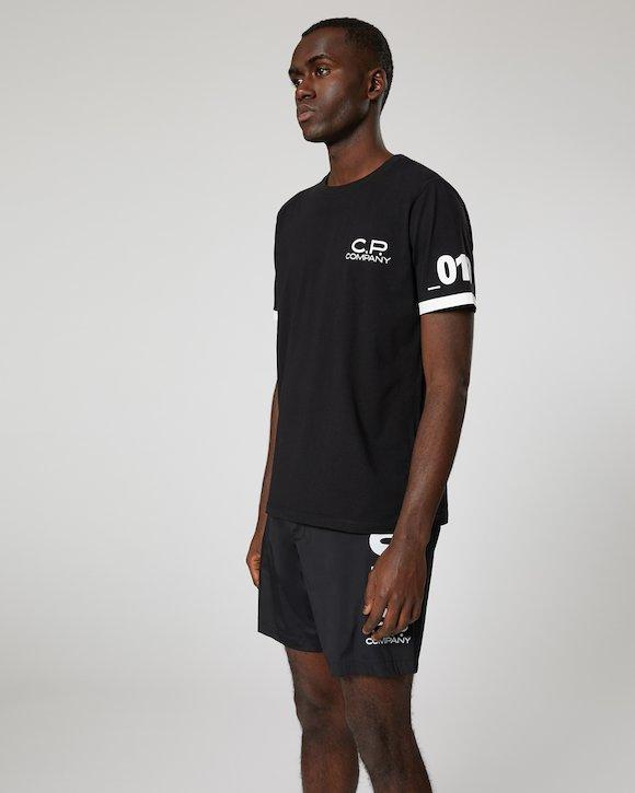 Jersey 30/1 Logo Print Crew T-Shirt in Black