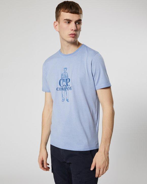 Re-Colour Makò Jersey Sailor Logo Crew T-Shirt in Dutch Blue