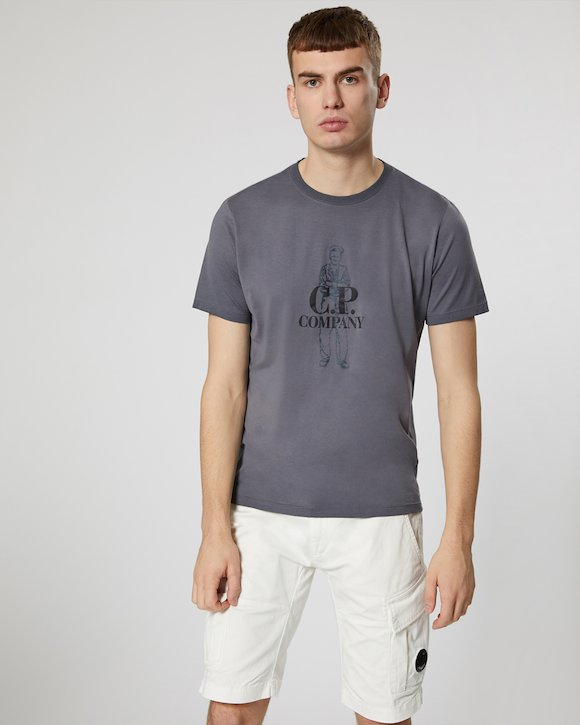 Re-Colour Makò Jersey Sailor Logo Crew T-Shirt in Black