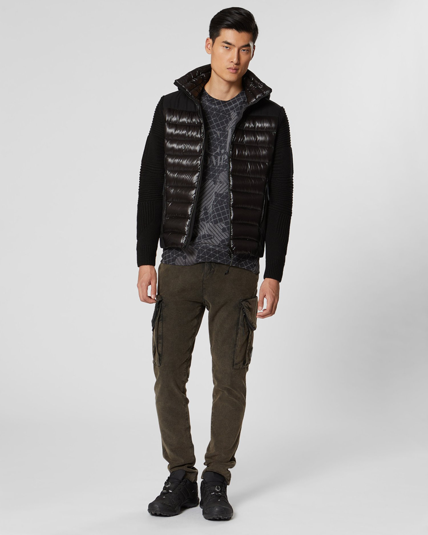 Lambswool / nylon Panelled Knit Goggle Jacket