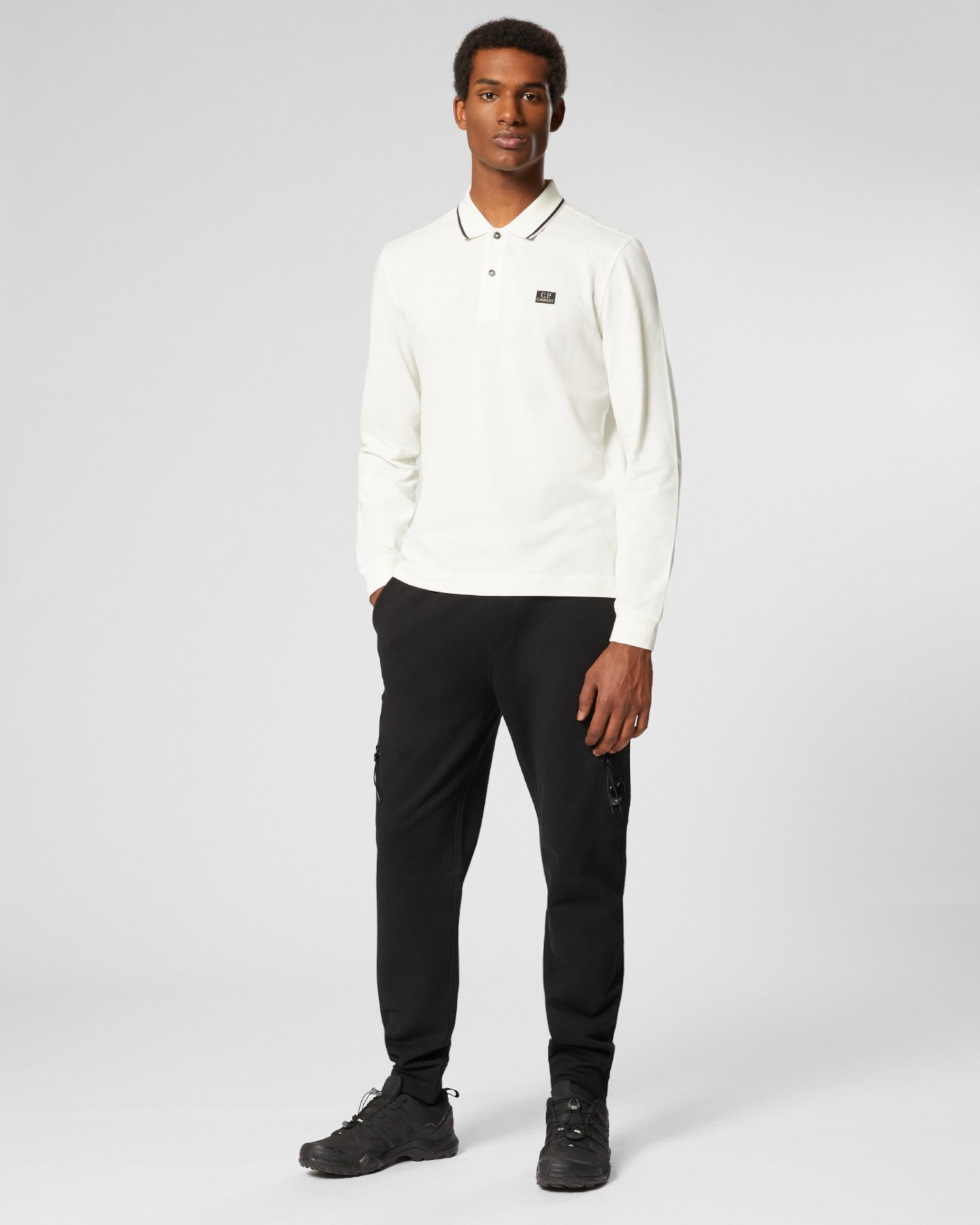 Рубашка из стрейч-пике в полоску с длинным рукавом и воротником-поло
