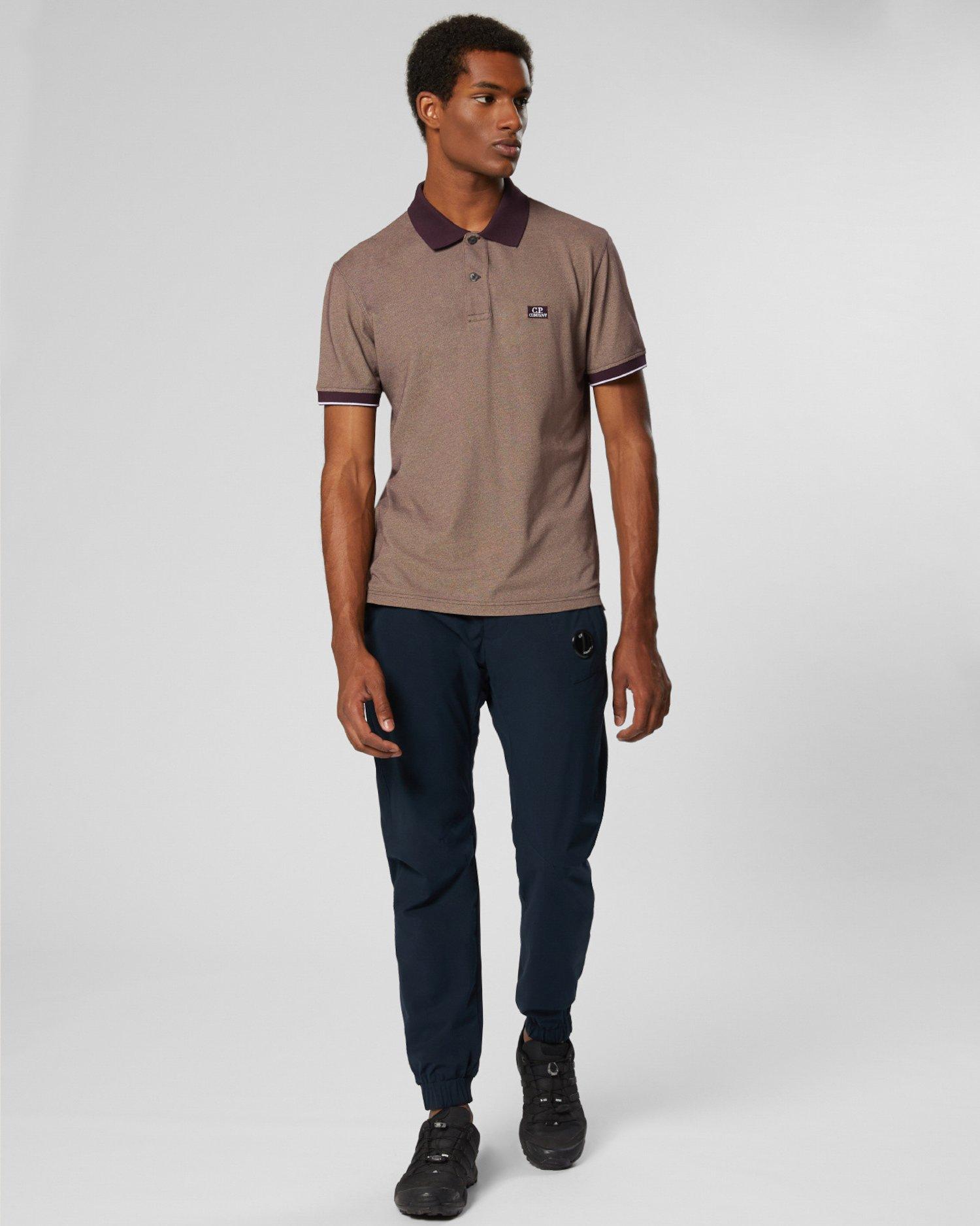 T-shirt polo à manches courtes en piqué Tacting teint en pièce