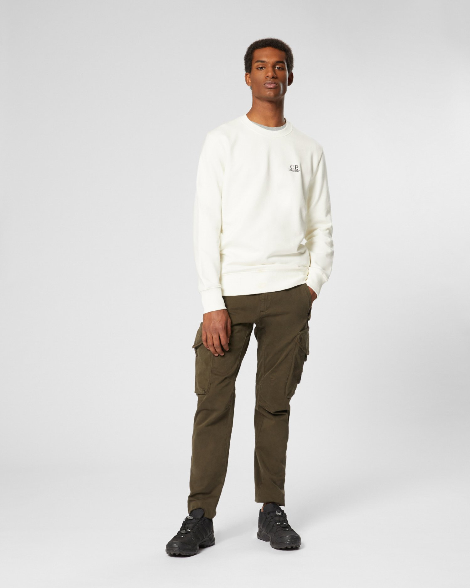 Diagonal Raised Fleece Chest Logo Sweater