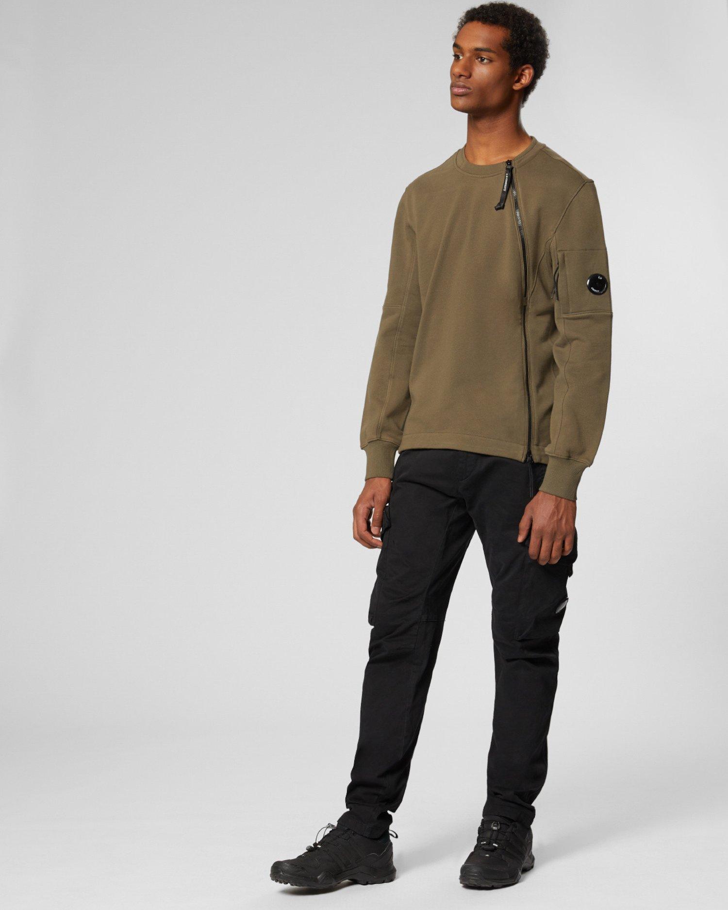 Sweatshirt aus Fleece mit Diagonalbindung und asymmetrischem Reißverschluss