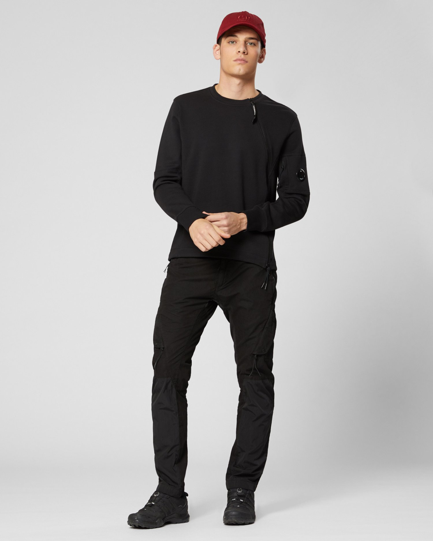 Diagonal Raised Fleece Asymmetric Zip Sweatshirt