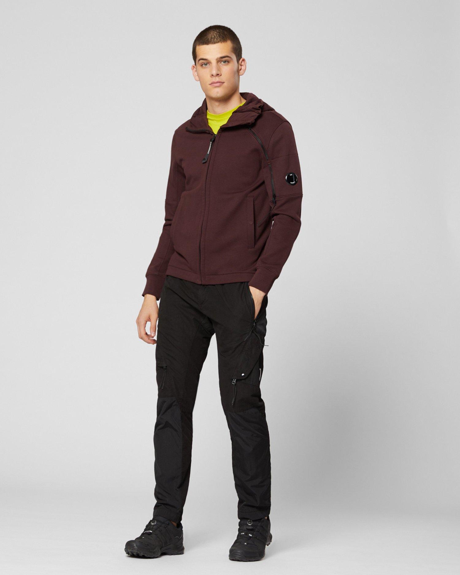 Diagonal Raised Fleece Asymmetric Zip Hooded Sweatshirt