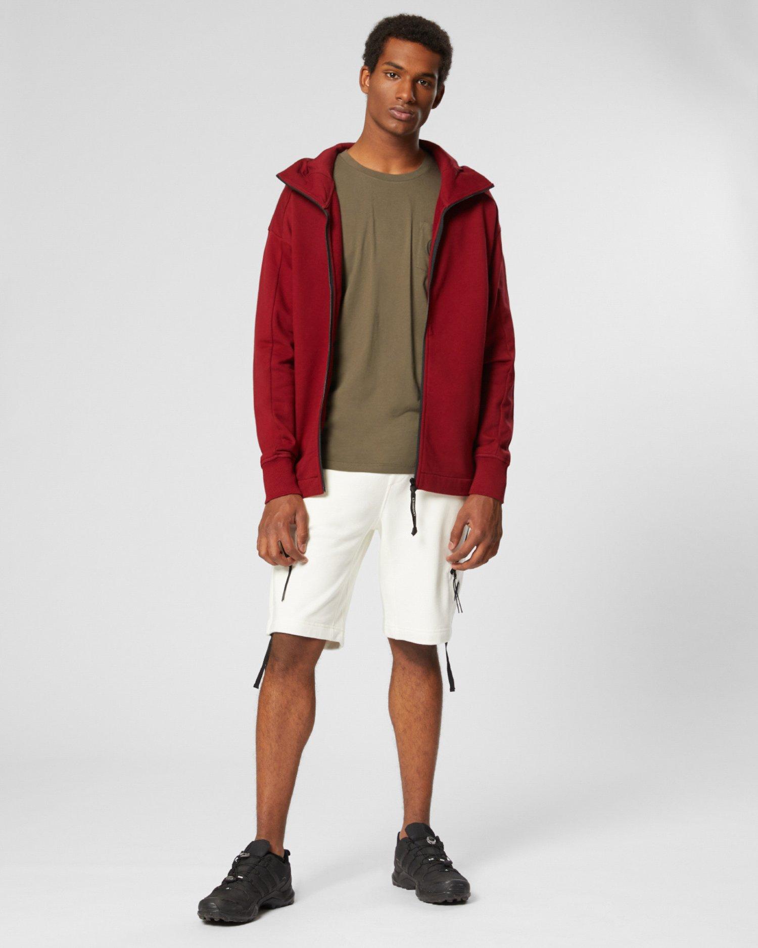 Diagonal Raised Fleece Concealed Goggle Full Zip Hoodie