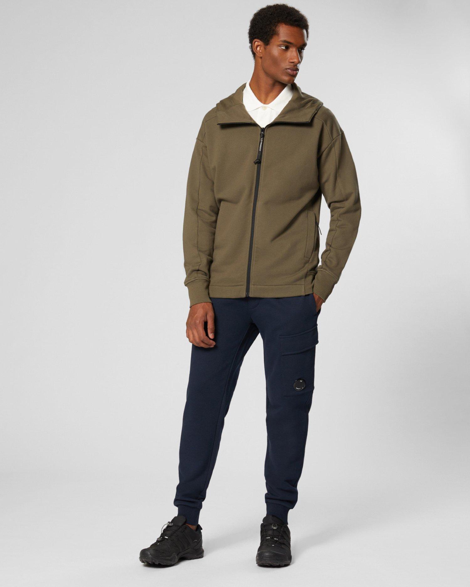 Pulloverjacke aus Fleece mit Kapuze, verdeckten Goggles und durchgehendem Reißverschluss