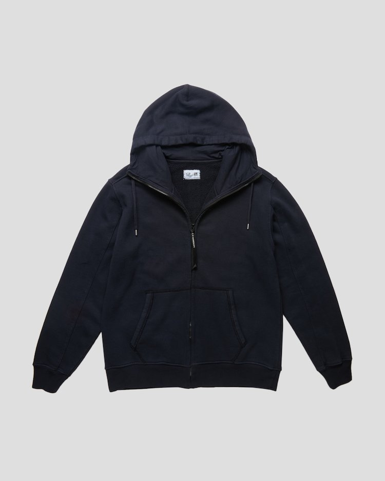 Heavy Jersey Tinto Old Hoodie in Blue Denim