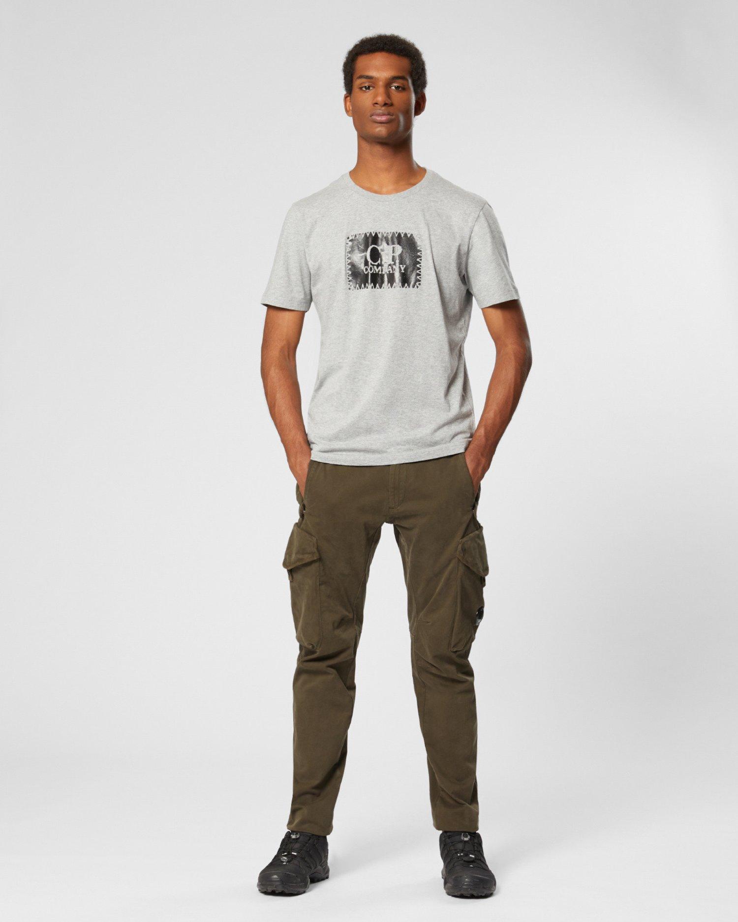 Camiseta con etiqueta estampada de punto 30/1