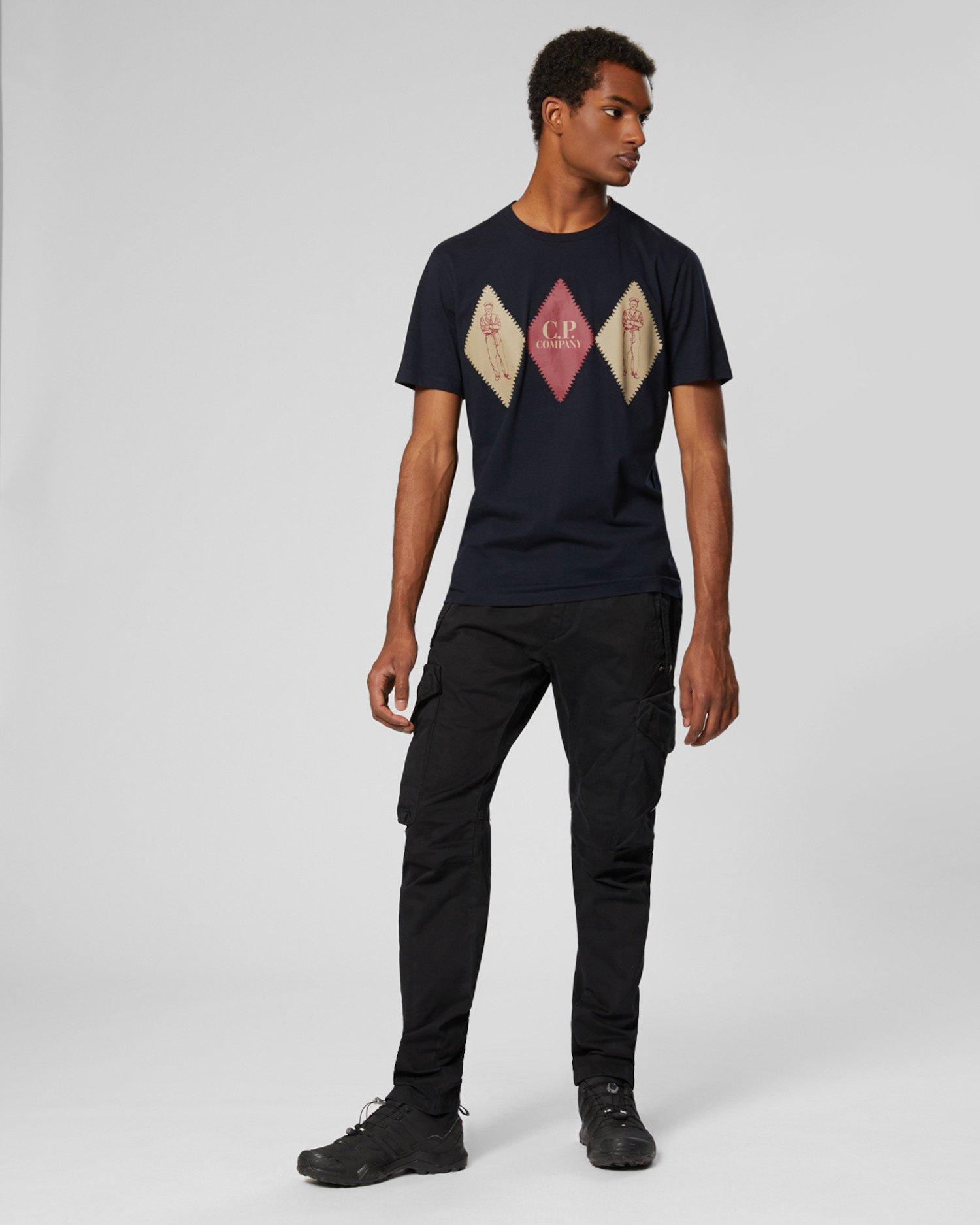 T-Shirt aus 30/1-Jersey mit Rauten vorne