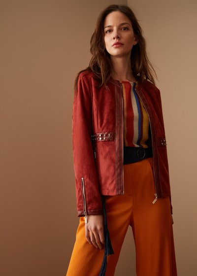 Garys faux-suede jacket with studded insets