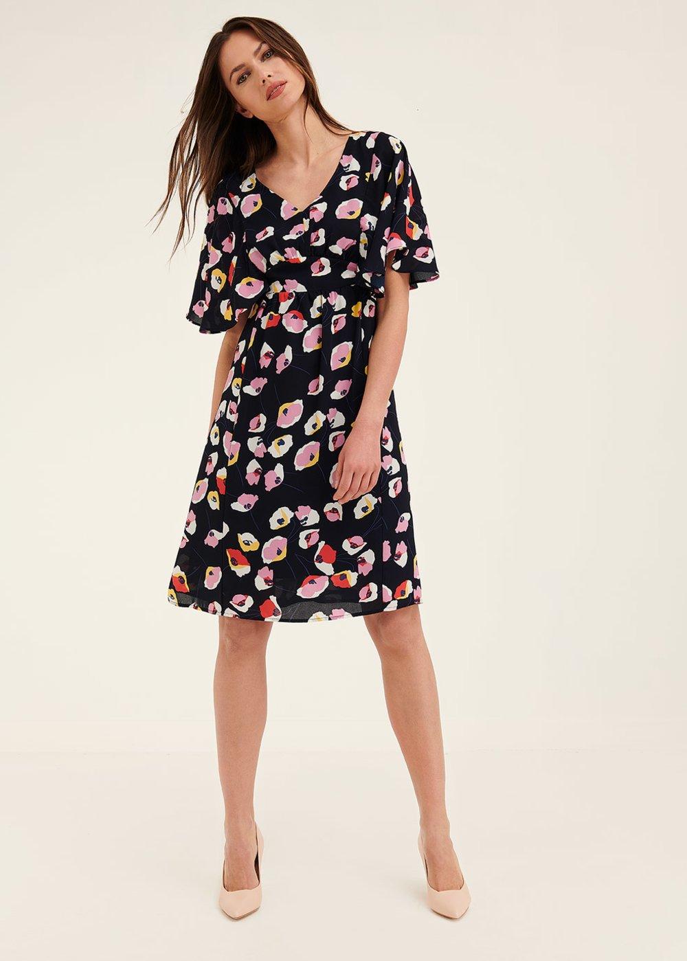 Alys floral patterned dress - Dark Blue / Lips /  Fantasia - Woman