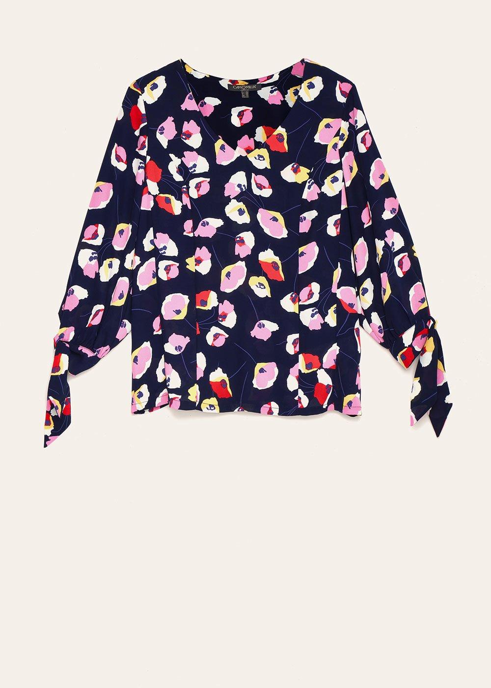 Salys floral patterned T-shirt - Dark Blue / Lips /  Fantasia - Woman