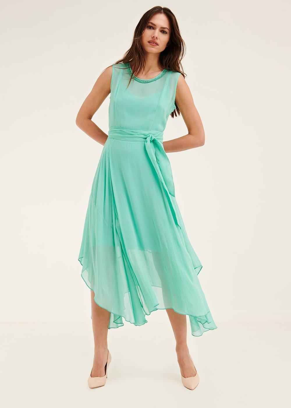 Ayrton dress with beaded embroidery - Smeraldo - Woman