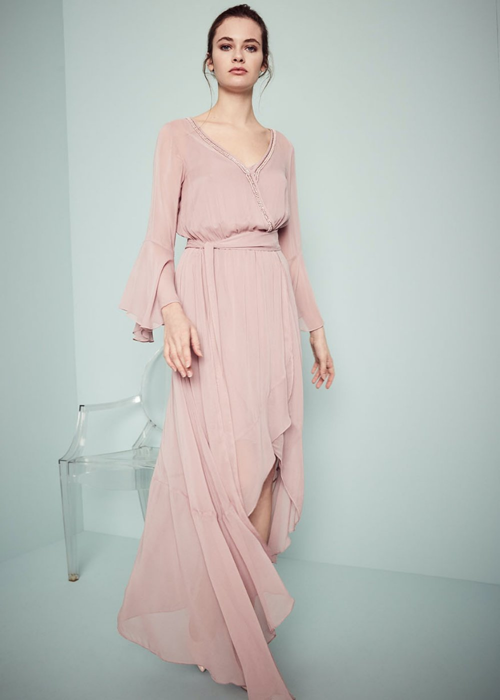 Athos dress with crossed neck - Skin - Woman