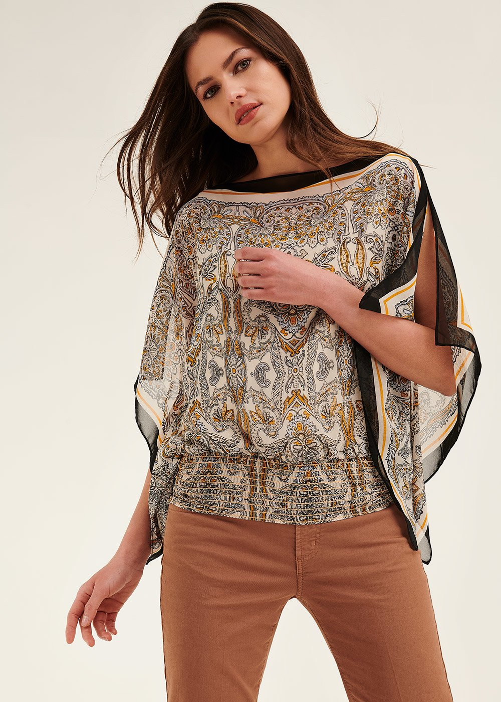 T-shirt Stephany modello fazzoletto - L.beige / Sole / Fantasia - Donna