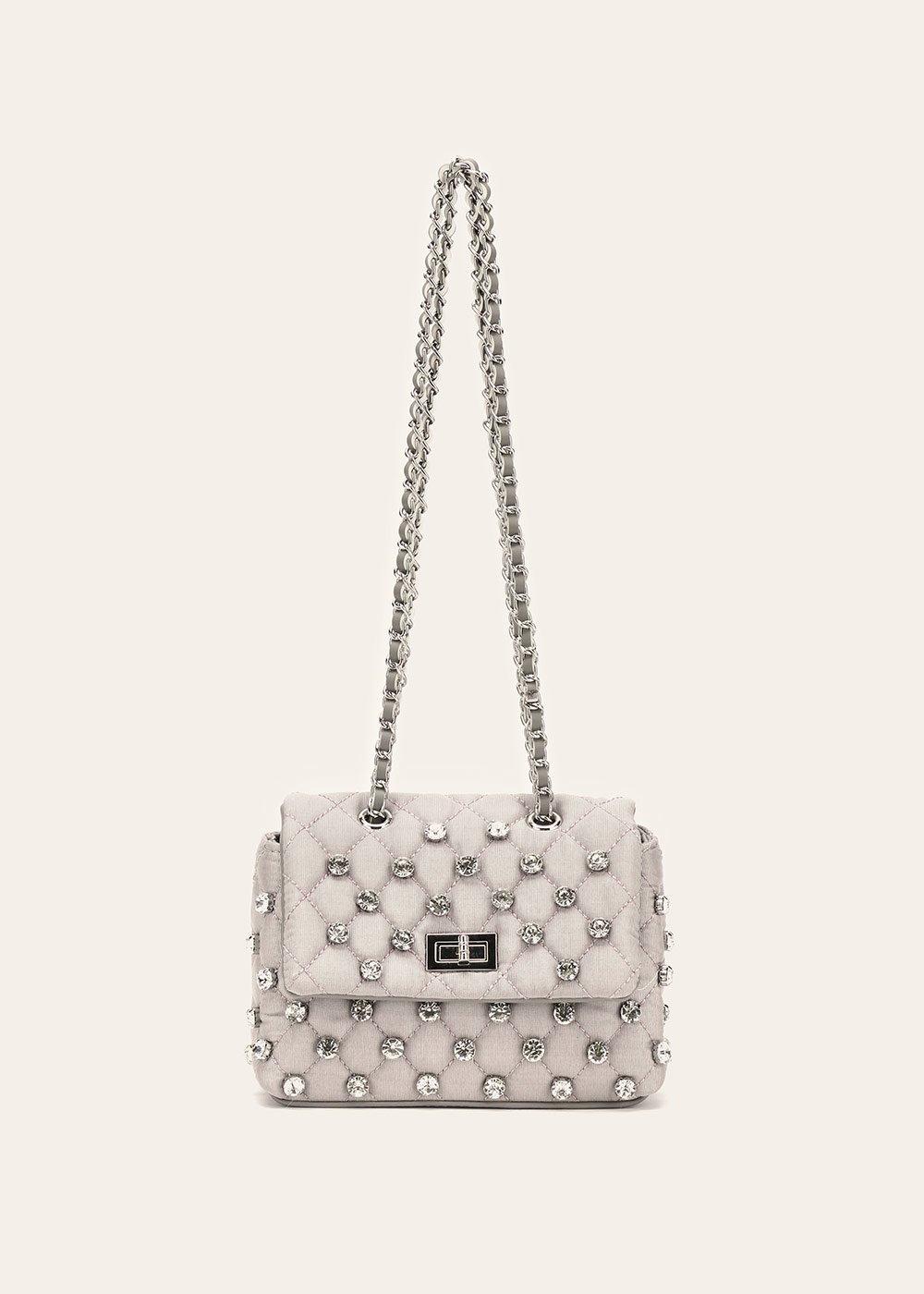 Balou clutch bag with decorative rhinestones - Light Grey - Woman