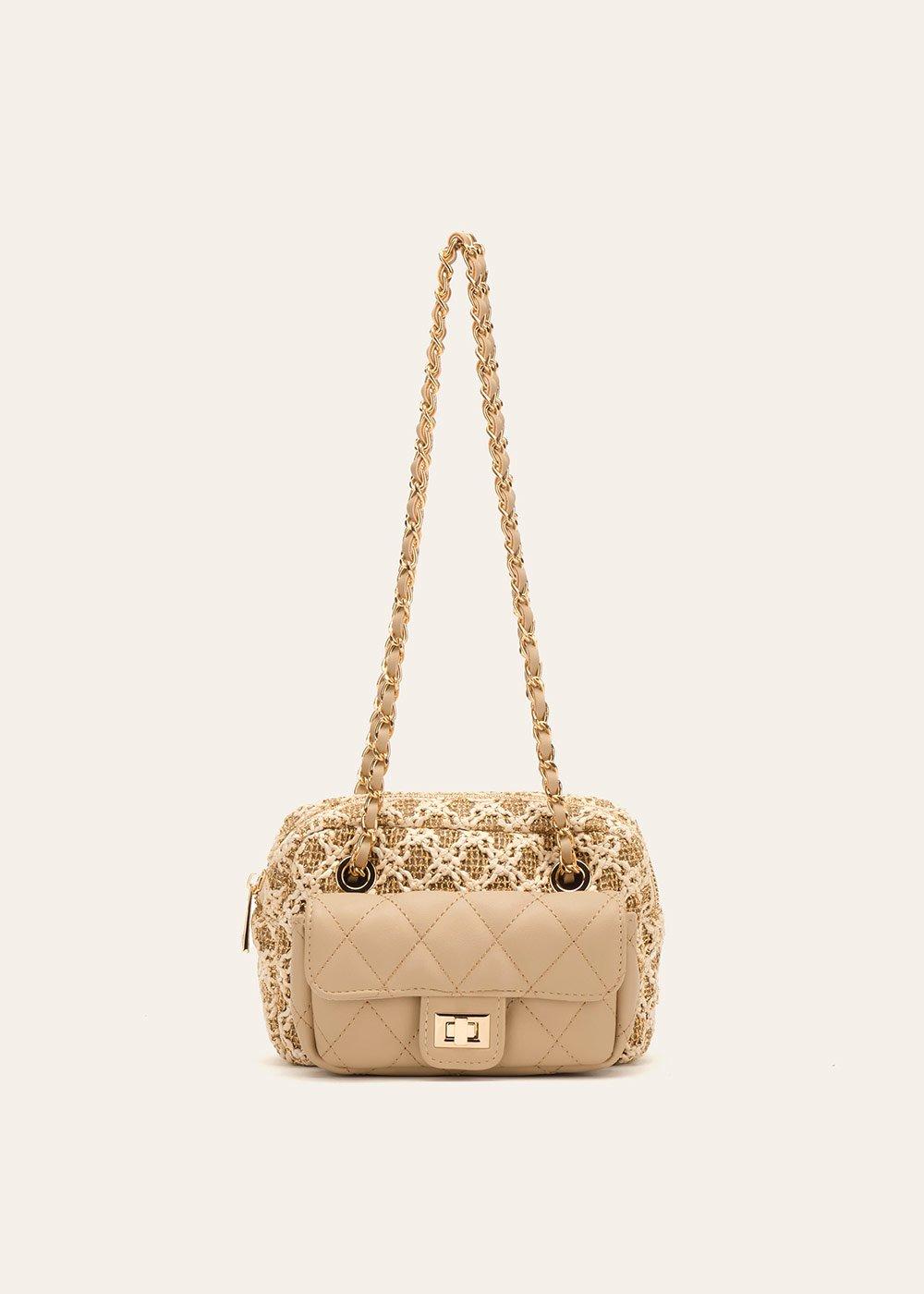 Dogo straw clutch bag with small pocket - Doeskin Gold - Woman