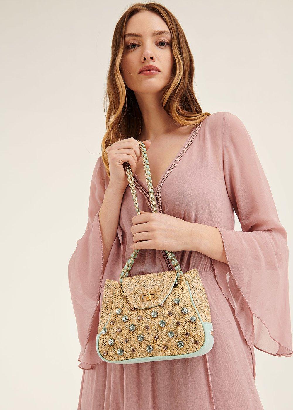 Bammy straw clutch bag with rhinestones - Smeraldo - Woman