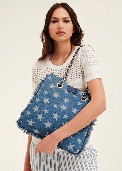Backed denim shopping bag