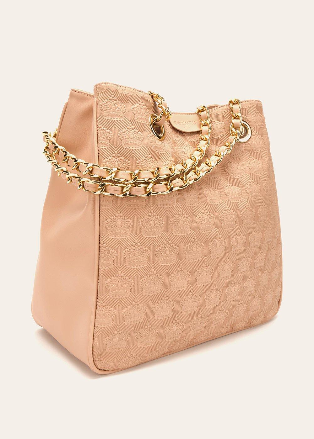 Shopping bag Bagsy con corone in rilievo - Rosa - Donna