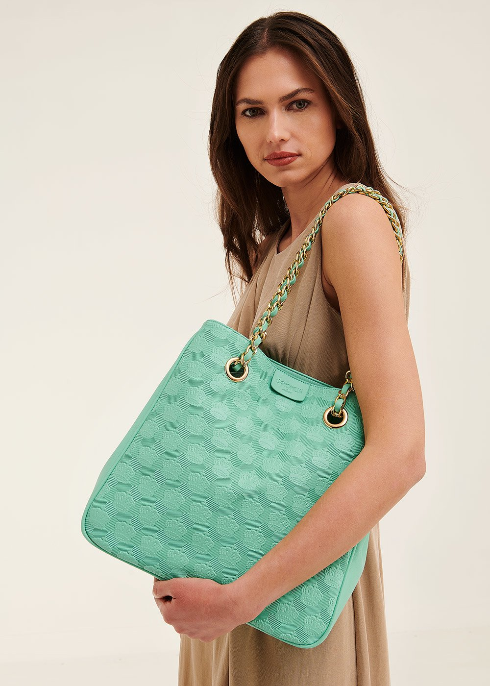 Bagsy shopping bag with embossed crowns - Smeraldo - Woman