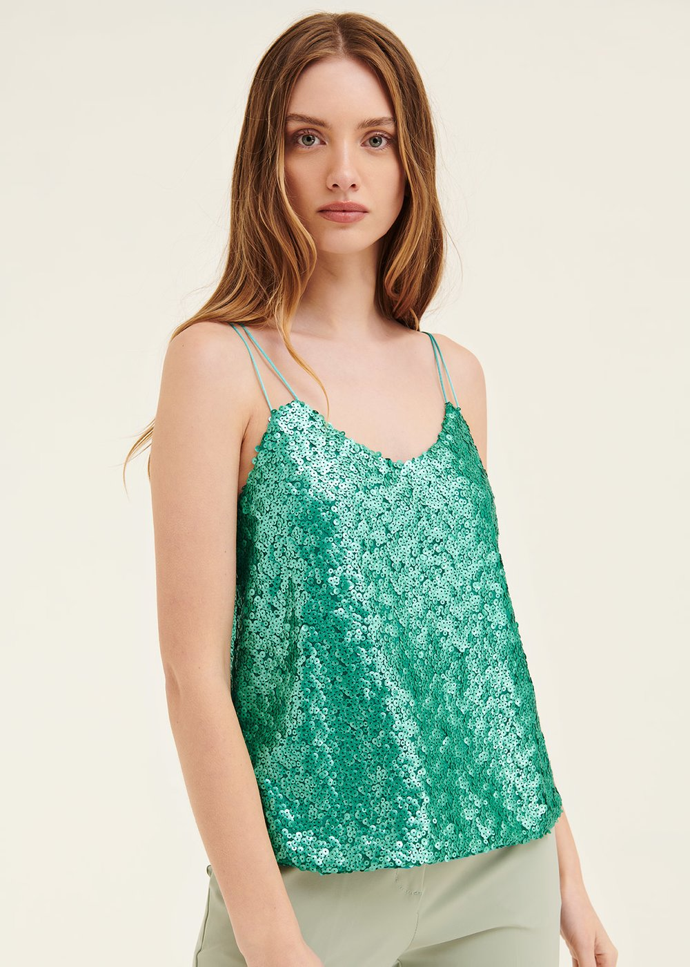 Troy sequined top - Smeraldo - Woman
