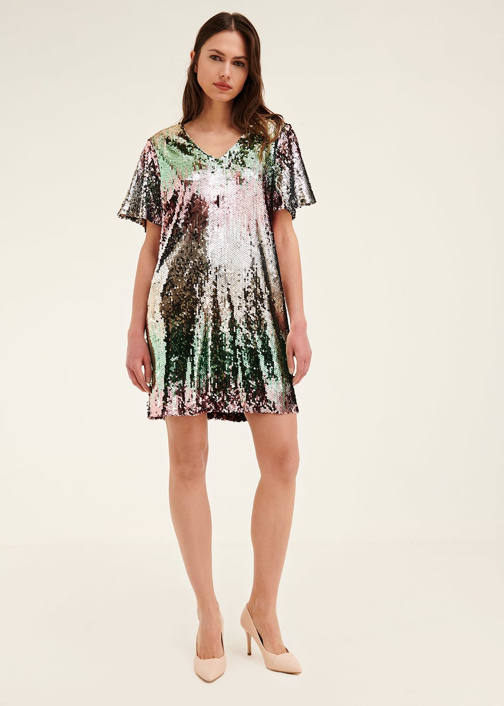 Angel sequined dress - Rosa \ Smeraldo - Woman