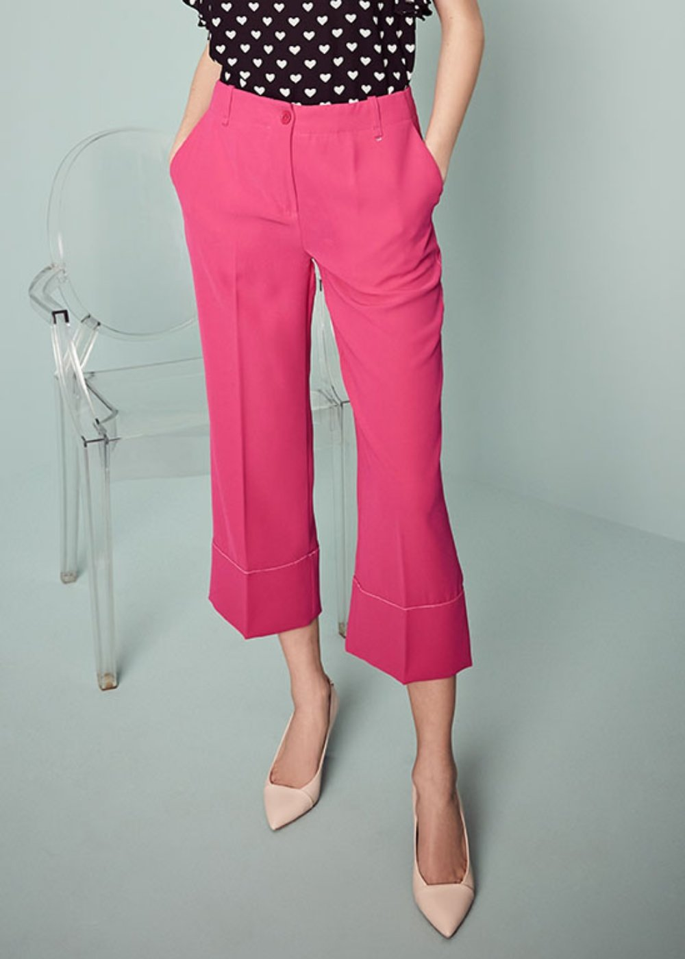 Sara trousers with contrasting hem - Gloss - Woman