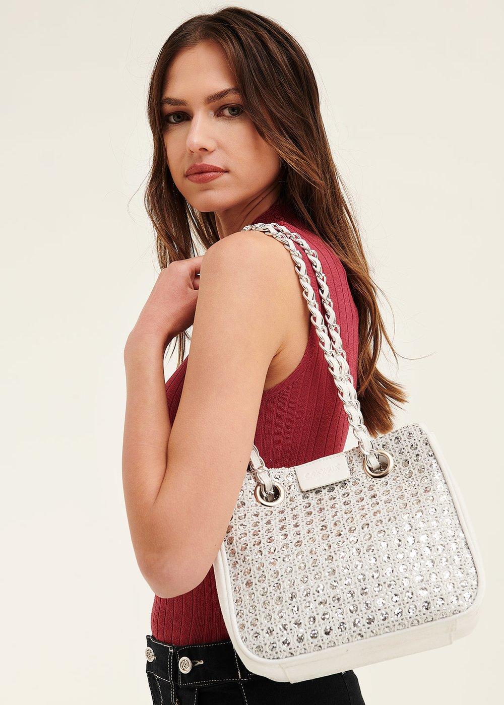 Shopping bag Bayr con lurex - White / Silver - Donna